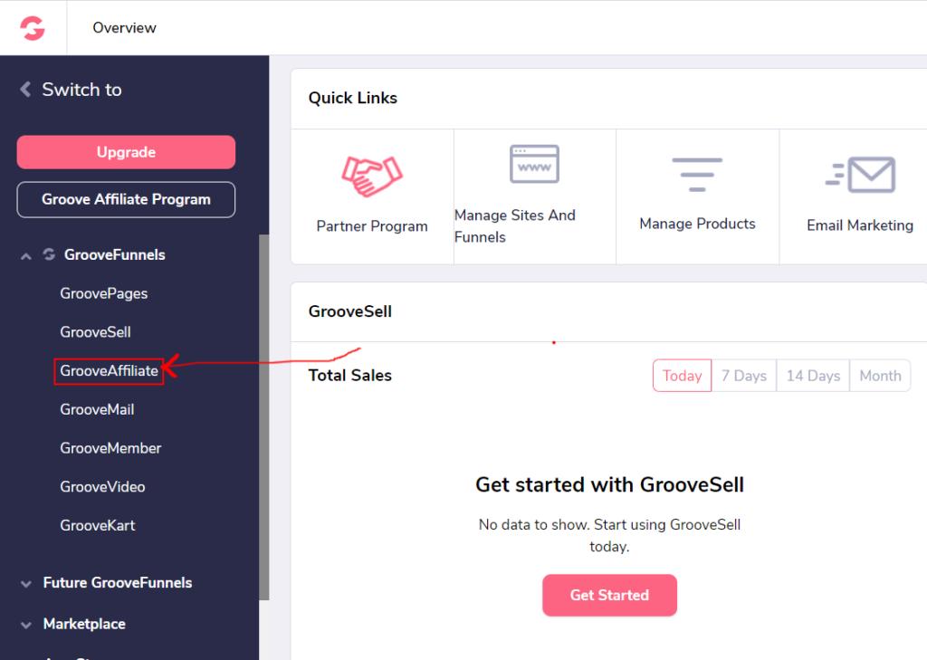 GrooveFunnels affiliate program dashboard2